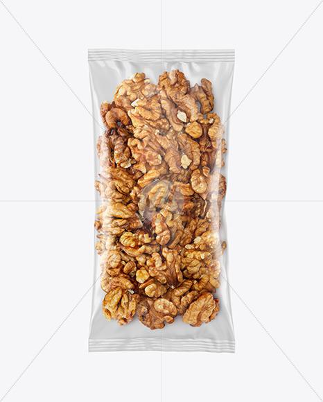 Clear Plastic Pack w/ Walnuts Mockup