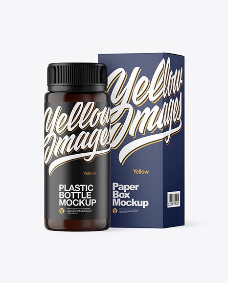 Amber Plastic Bottle with Box Mockup