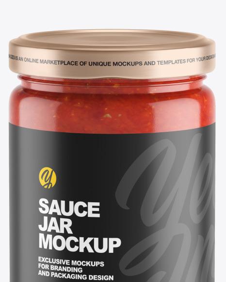 Clear Glass Jar w/ Tomato Sauce Mockup