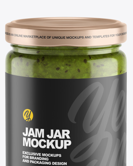 Clear Glass Jar w/ Kiwi Jam Mockup