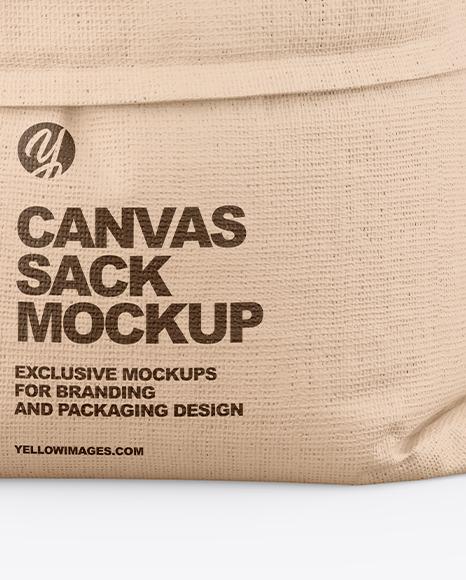 Canvas Sack with Oatmeal Mockup