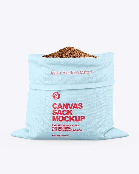 Canvas Sack with Buckwheat Mockup