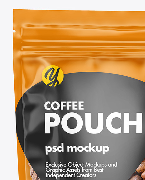Clear Plastic Stand-up Pouch w/ Coffee Mockup