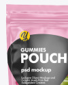 Clear Plastic Stand-up Pouch w/ Gummies Mockup