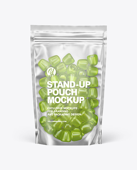 Frosted Plastic Stand-up Pouch w/ Gummies Mockup