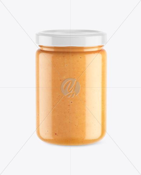 Clear Glass Jar w/ Peanut Butter Mockup