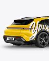 Electric Sport Car Mockup - Back Half Side View