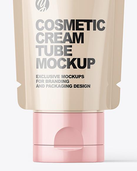 Glossy Cosmetic Cream Tube Mockup