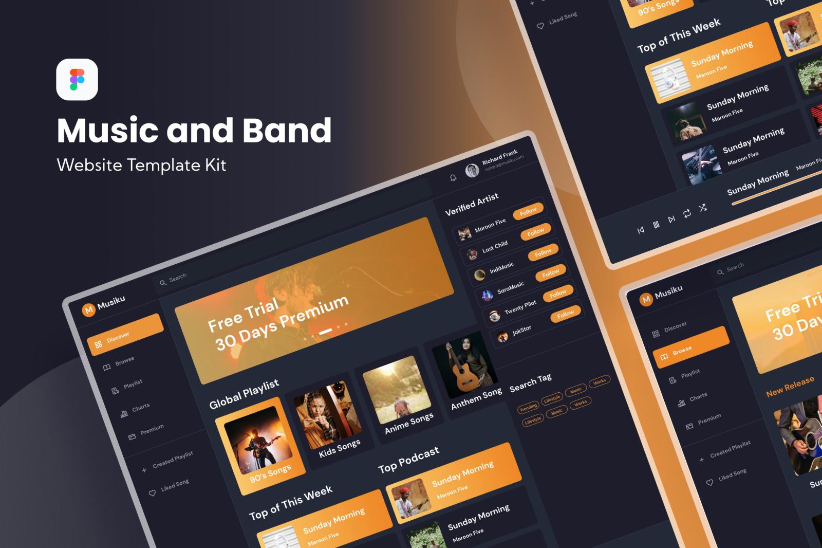 Music & Band Dashboard Template