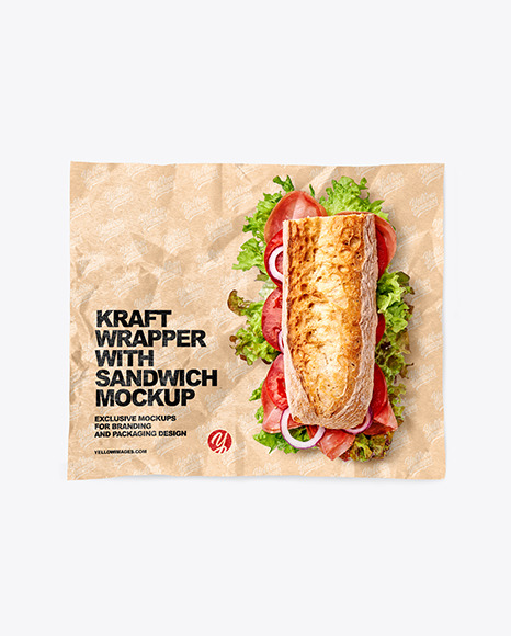 Papper Wrapper With Sandwih Mockup