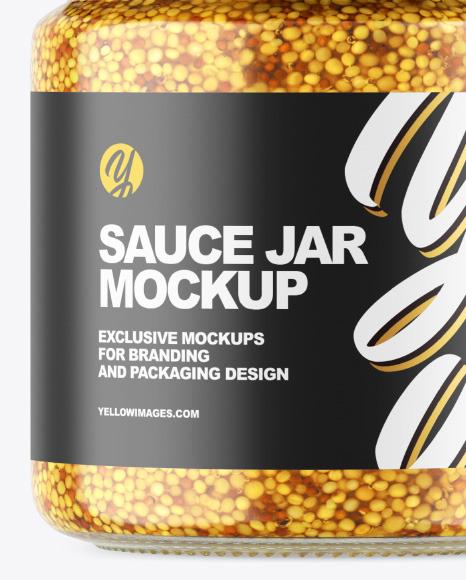 Clear Glass Jar w/ Wholegrain Mustard Mockup