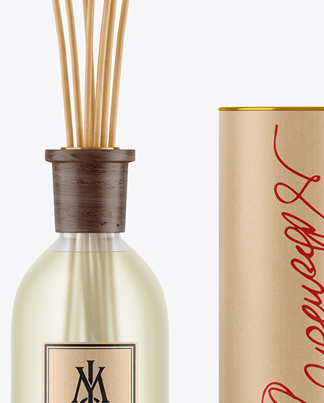 Frosted Diffuser Bottle with Tube Mockup
