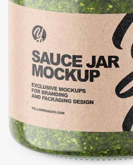 Clear Glass Jar w/ Pesto Mockup