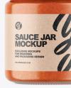 Clear Glass Jar w/ Sauce Mockup