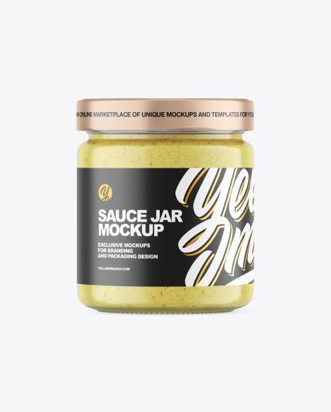 Clear Glass Jar w/ Creamy Spread Mockup