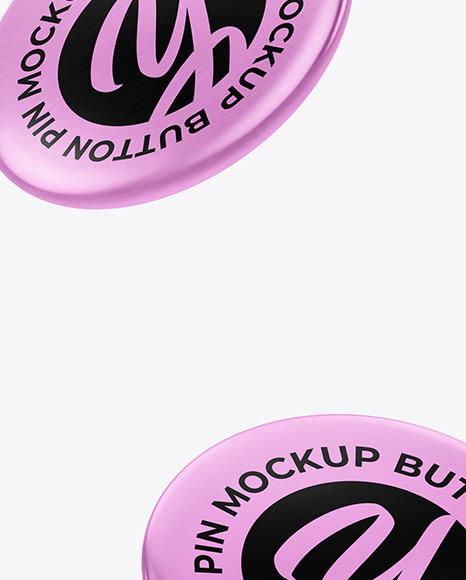 Metallic Button Pins Mockup