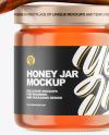 Clear Glass Honey Jar w/ Wooden Dipper Mockup