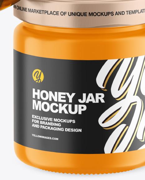 Glossy Honey Jar w/ Wooden Dipper Mockup