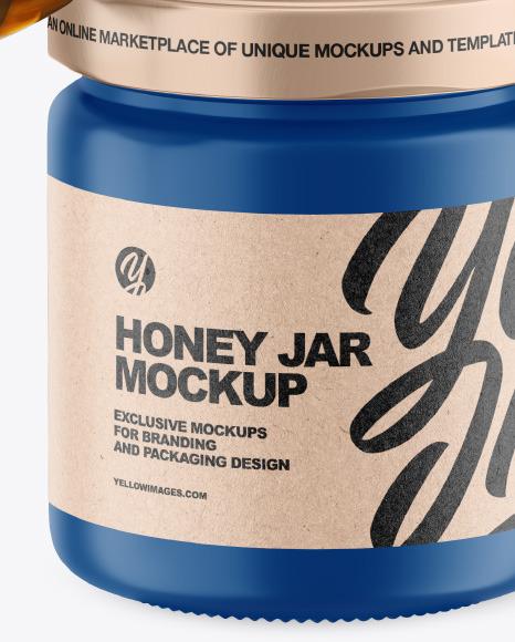 Matte Honey Jar w/ Wooden Dipper Mockup