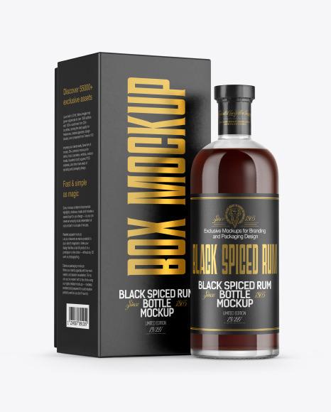 Black Rum Bottle with Box Mockup
