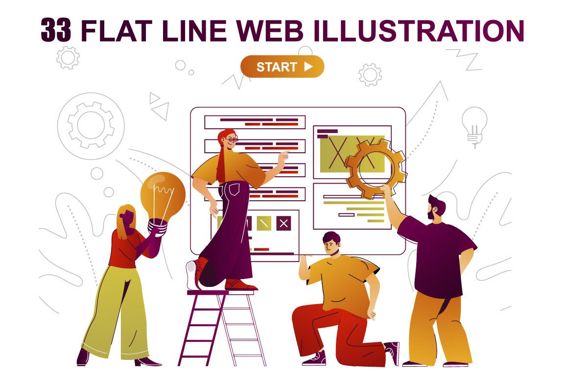Flat Line Web Illustration Pack