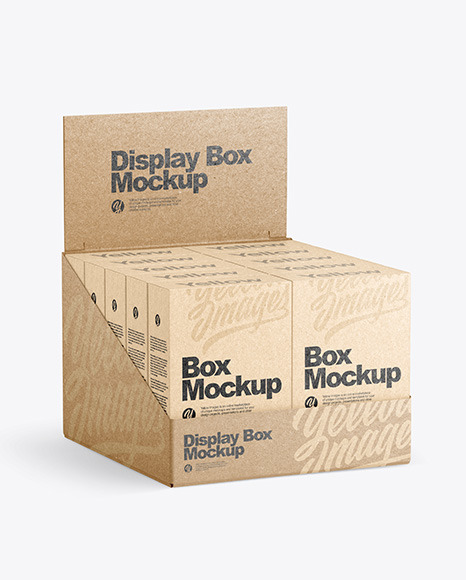 Kraft Display Box with 10 Kraft Boxes Mockup
