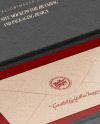 Envelope in a Kraft Paper Box Mockup