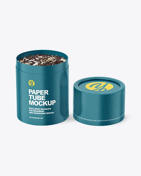 Glossy Paper Tube With Tea Mockup