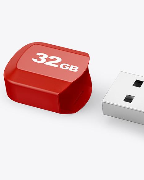 Plastic USB Flash Drive Mockup