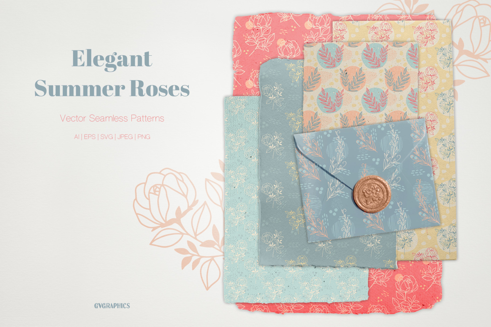 Elegant Summer Roses Vector Patterns
