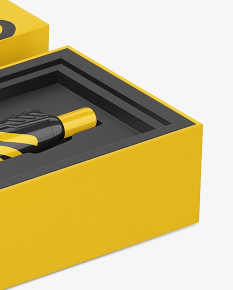 Glossy Pen in Box Mockup