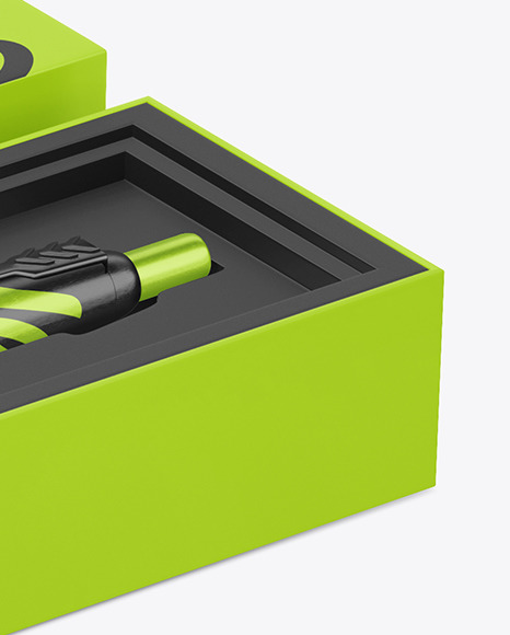 Metallic Pen in Box Mockup