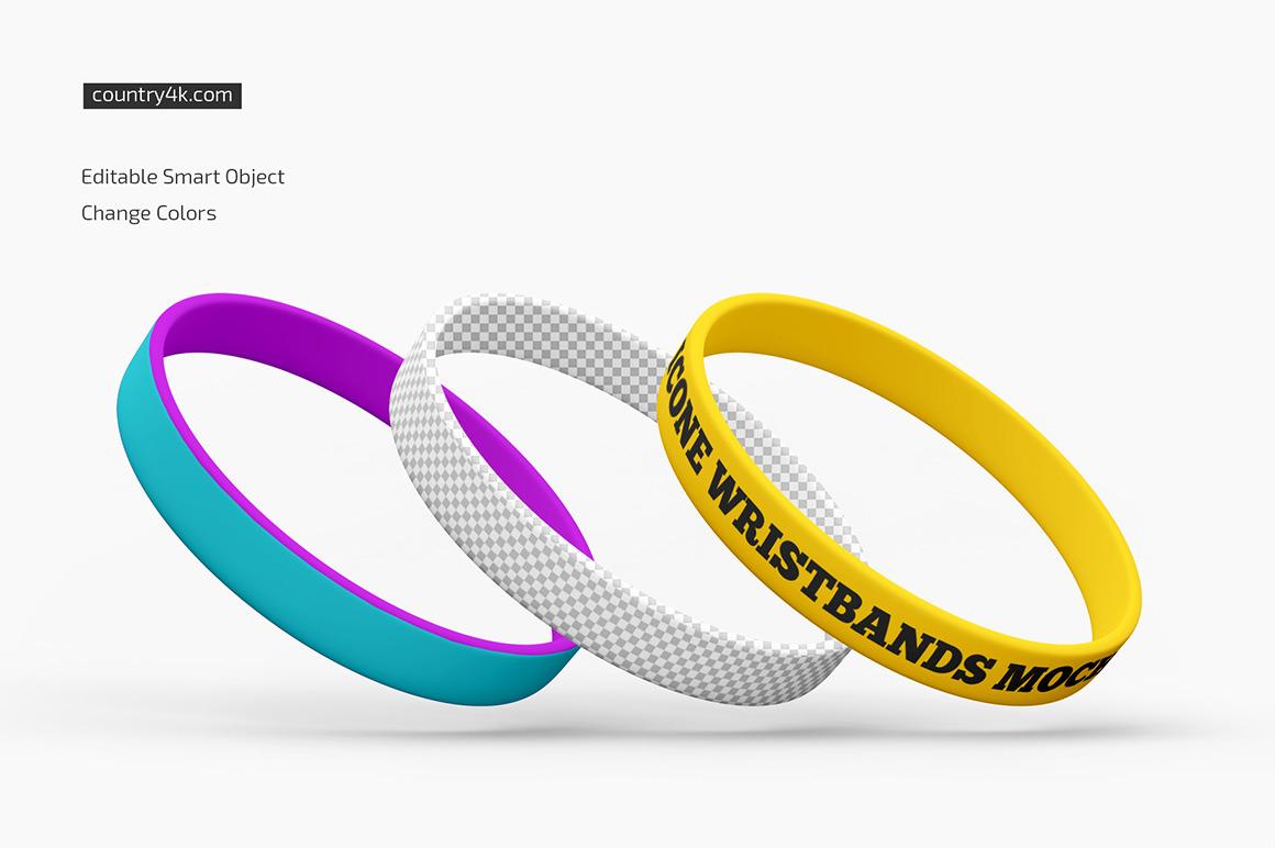 Silicone Wristbands Mockup Set