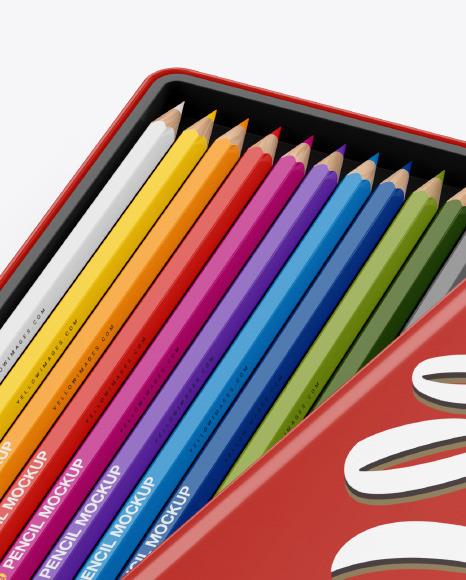 Opened Glossy Box w/ Pencils Mockup