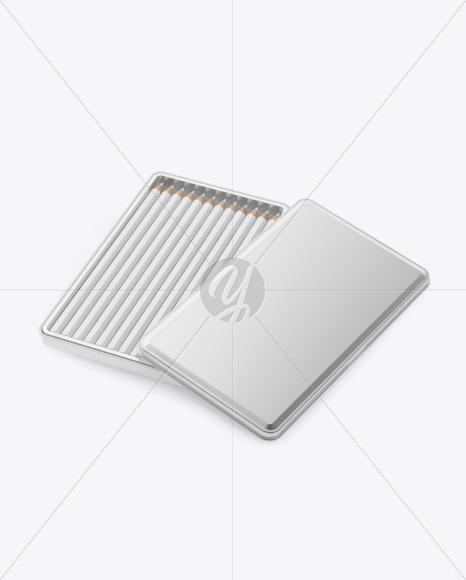 Opened Metallic Box w/ Pencils Mockup