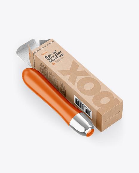 Opened Kraft Box w/ Vibrator Mockup