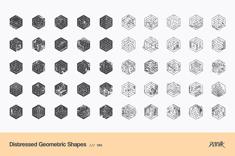 Distressed Geometric Shapes | V01