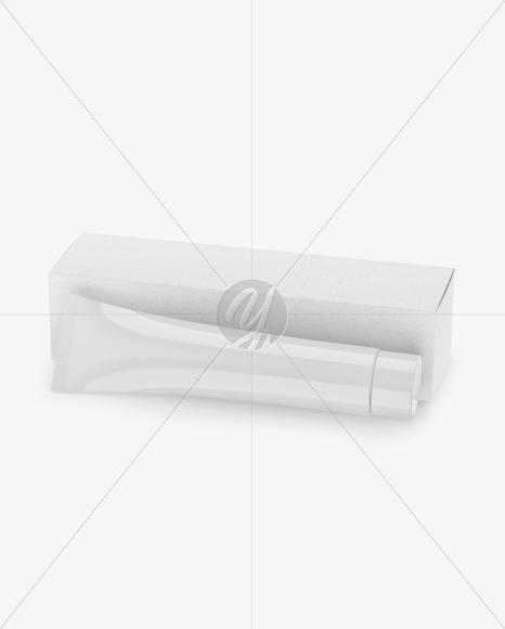 Glossy Cosmetic Tube w/ Kraft Box Mockup