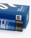 Matte Cosmetic Tube w/ Paper Box Mockup