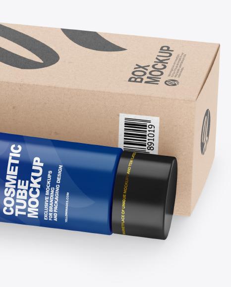 Matte Cosmetic Tube w/ Kraft Box Mockup