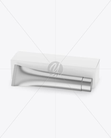 Metallic Cosmetic Tube w/ Paper Box Mockup