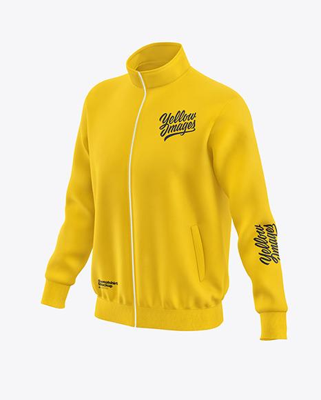 Men's Full-Zip Sweatshirt Mockup - Front Half Side View