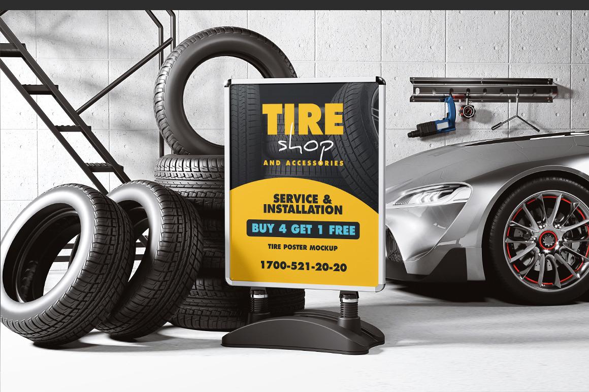 Tire Shop Poster Mockup