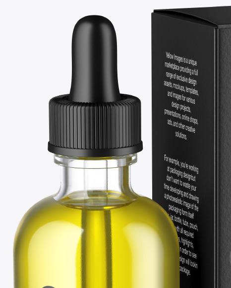 Clear Glass Dropper Oil Bottle w/ Paper Box Mockup