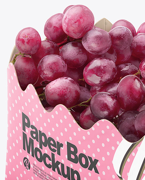 Matte Paper Basket with Grapes Mockup