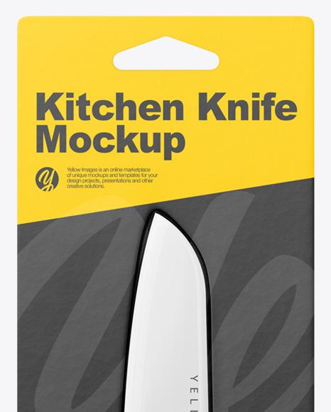Сeramic Kitchen Knife with Blister Pack Mockup