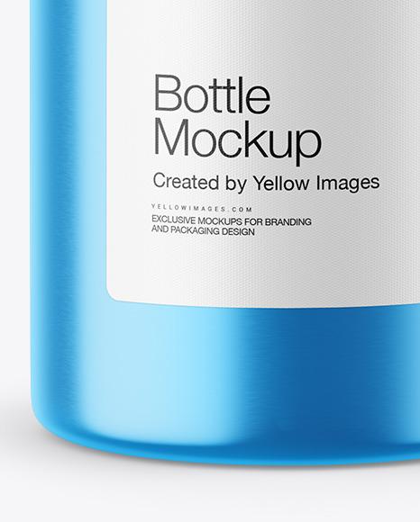 Metallic Bottle w/ Paper Label Mockup
