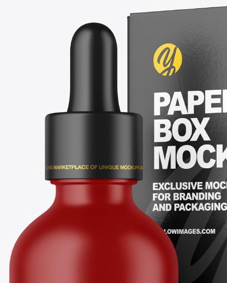 Matte Dropper Bottle w/ Paper Box Mockup
