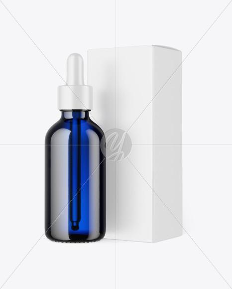 Blue Glass Dropper Oil Bottle w/ Paper Box Mockup