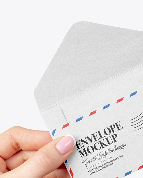 Opened Envelope In Hand Mockup